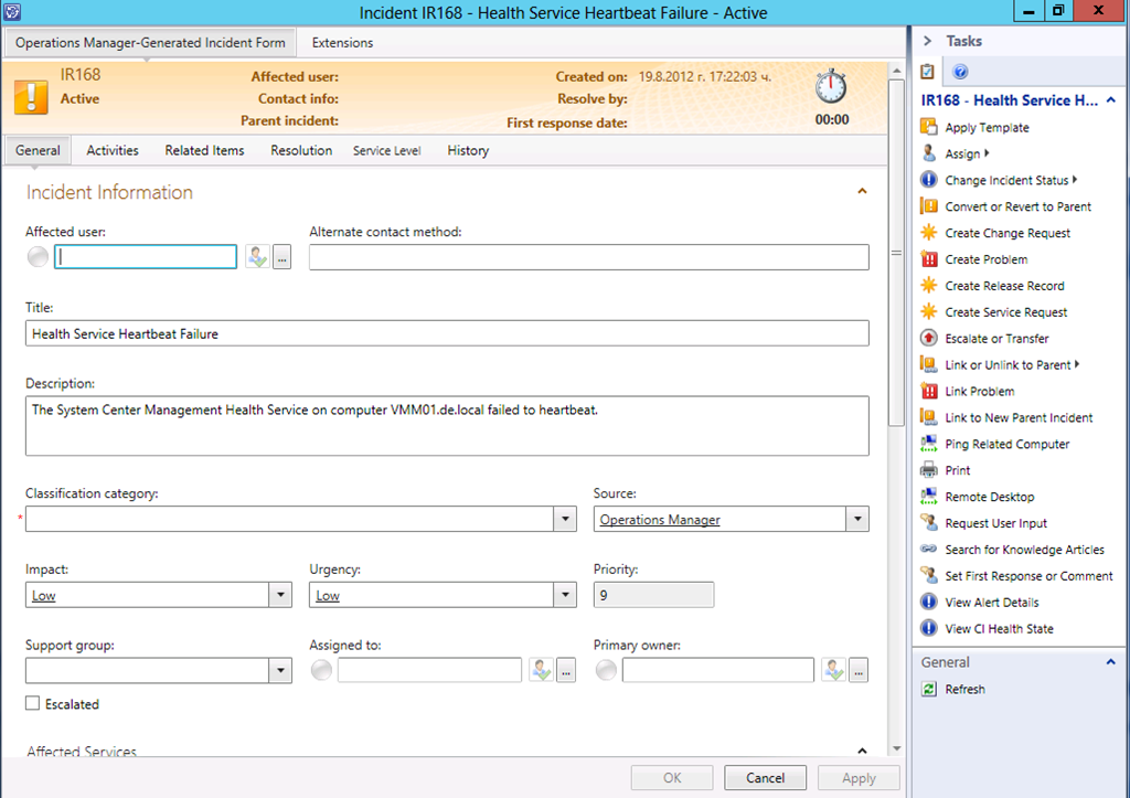 Routing alerts from scom in scsm by using custom field for Incident alert template