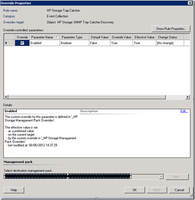 Configuring HP Storage Management Pack for SNMP devices in SCOM