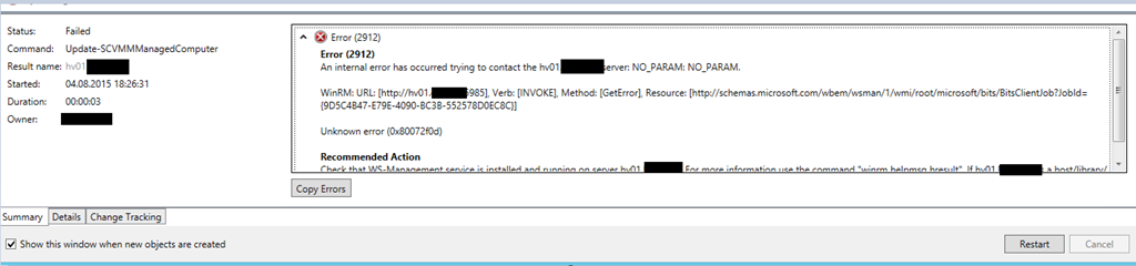 Error (2912) When You Try to Update VMM Agent on Hosts